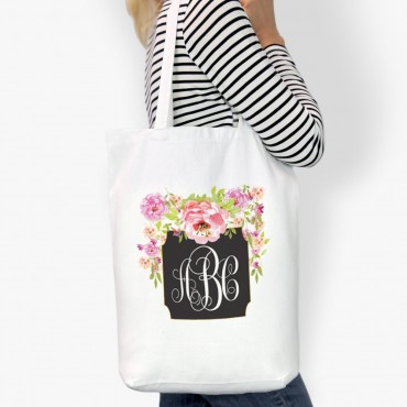 Midnight Monogram Garden Cotton Tote Bag