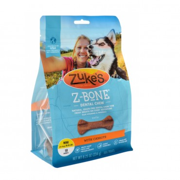 Zukes Z - Bones Dental Chews - Clean Carrot Crisp - Mini 18 Pack - 9 oz