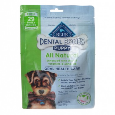 Blue Buffalo Puppy Dental Bones - Mini - 29 Pack - Puppies 5 - 15 lbs
