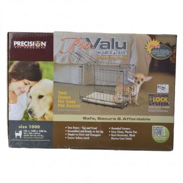 Precision Pet Pro Value by Great Crate - 2 Door Crate - Black - Model 1000 19 L x 12 W x 14 H For Dogs up to 10 lbs