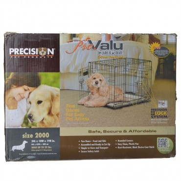 Precision Pet Pro Value by Great Crate - 2 Door Crate - Black - Model 2000 24 L x 18 W x 19 H For Dogs up to 25 lbs