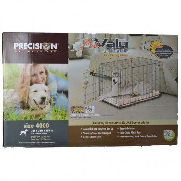 Precision Pet Pro Value by Great Crate - 1 Door Crate - Black - Model 4000 36 L x 23 W x 25 H For Dogs up to 70 lbs