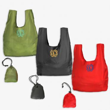 Monogram Foldable Shopping Tote Bag W/Drawstring Closure