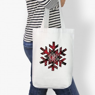 Monogram Snowflake Custom Cotton Tote Bag