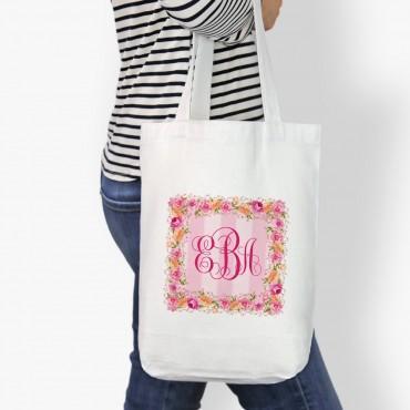Monogram Square Wreath Custom Cotton Tote Bag