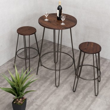 3 Pcs Wood Round Bar Table Bistro Stool Set