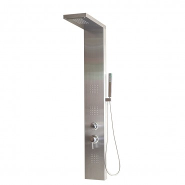 57 In. Stainless Rainfall Waterfall Panel Shower W / Massage Jets