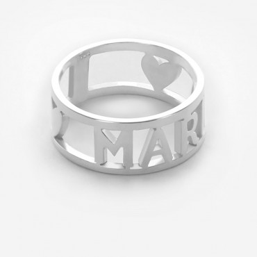 Sterling Silver Name Ring with Heart