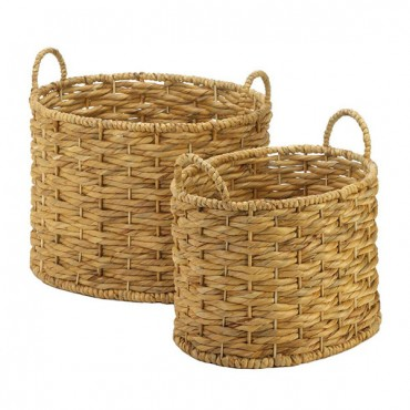 Natural Water Hyacinth Oval Baskets Set