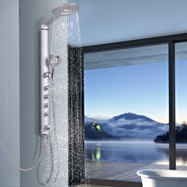 40 In. Aluminum Alloy Shower Column Massage Jet System W / Hand shower