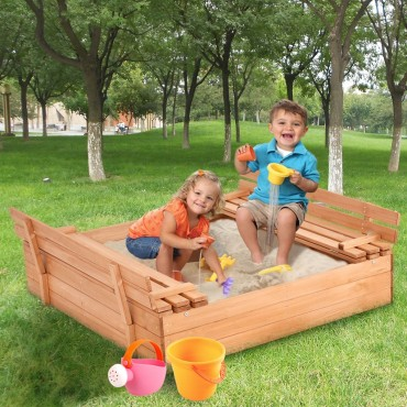 Children Outdoor Foldable Retractable Sandbox With Bench Seat
