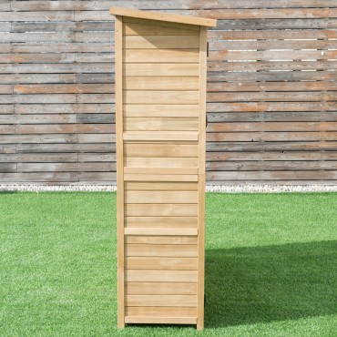 64 In. Wooden Storage Shed Outdoor Fir Wood Cabinet