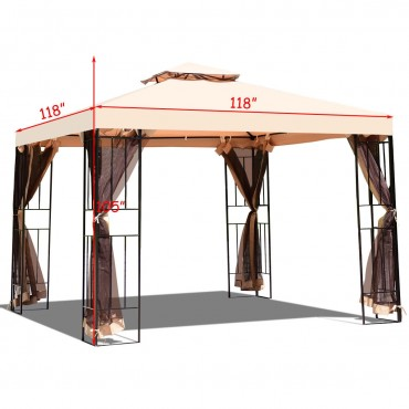 10 x 10 Ft. 2 Tier Vented Metal Gazebo Canopy With Mosquito Netting