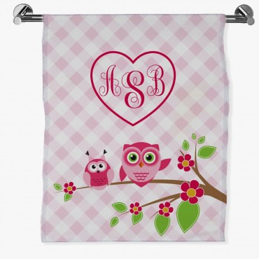 Owls On A Tree Branch Personalized Bath Sheet