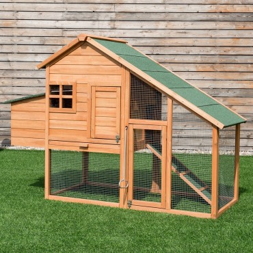 67 In. Outdoor Rabbit Hutch Chicken Coops Cage with Ladder