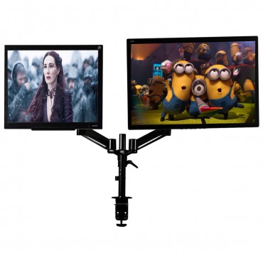 Dual 2 Screens Desk Mount Stand TV LCD Bracket