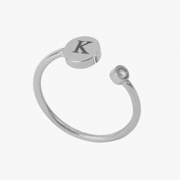 Personalized w/ Single Initial Adjustable Stainless Steel CZ Stone Ring