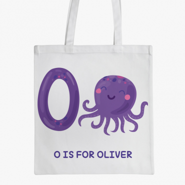 Personalized Animal Initial Kids Tote Bag