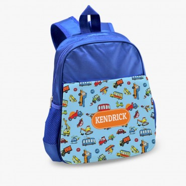 Personalized Automobile Kids Blue Backpack