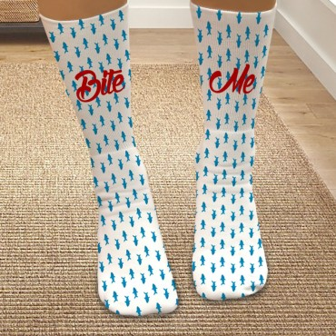 Personalized Bite Me Shark Tube Socks