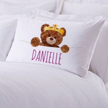 Personalized Crowned Teddy Bear Pillowcase