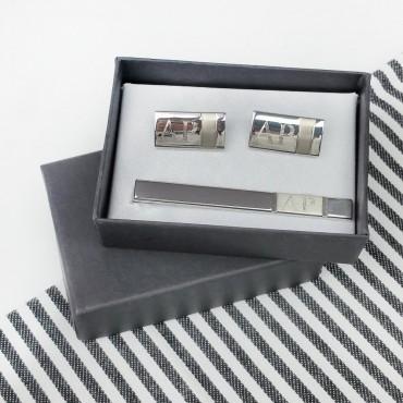 Personalized Cufflinks & Tie Bar in Black Gift Box