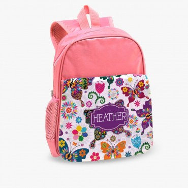 Personalized Floral Burst Kids Pink Backpack