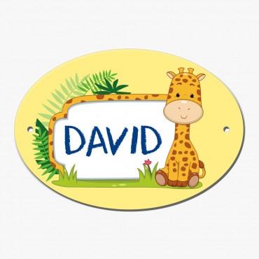 Personalized Giraffe Oval Door Plate