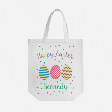 Personalized Happy Easter Cotton Tote Bag