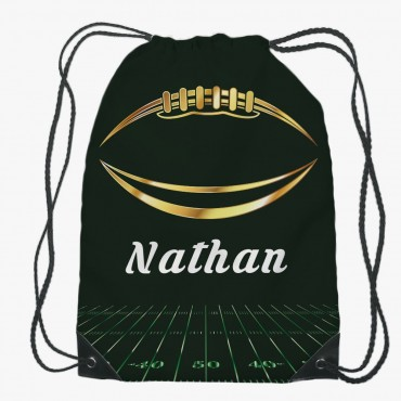 Personalized Kids Football Drawstring Gym Bag