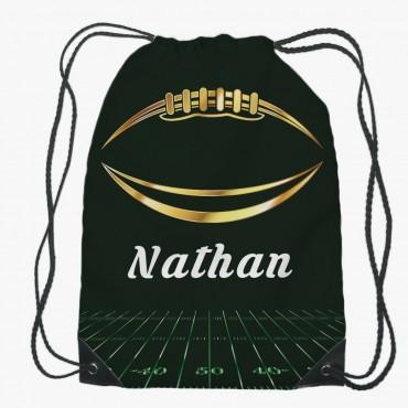 Personalized Kids Football Drawstring Gym Bag