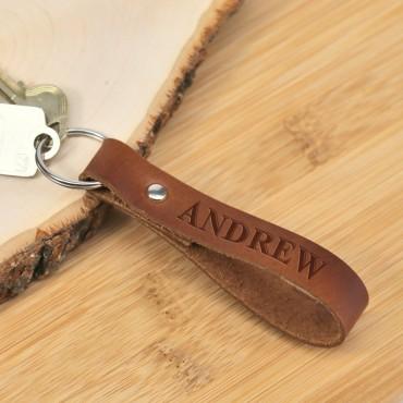 Personalized Genuine Leather Keychain