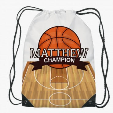 Personalized Basketball Drawstring Gym Bag