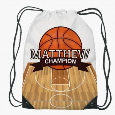 Personalized Basketball Drawstring Gym Bag