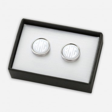 Personalized Monogram Initial Round Cuff Links