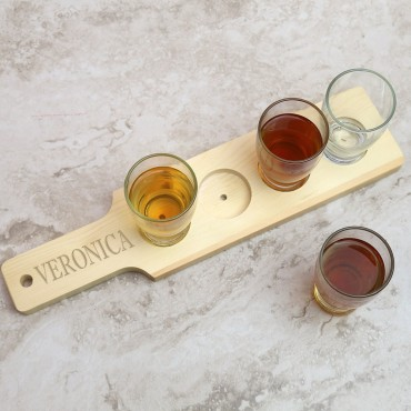 Personalized Natural Finish Wood Flight Sampler Paddle
