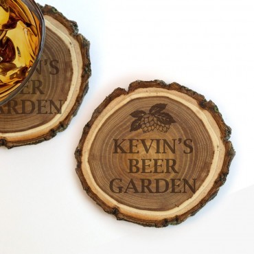 Personalized Old West Log Coasters