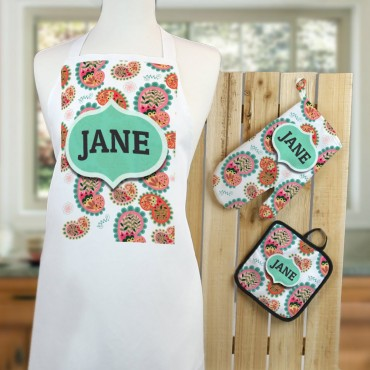 Personalized Paisley 3-Piece Apron, Potholder and Mitt Set