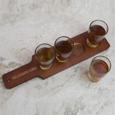 Personalized Red-Brown Finish Wood Flight Sampler Paddle