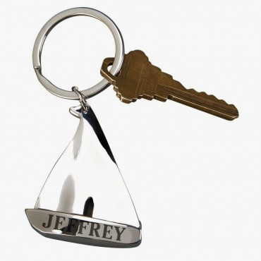 Personalized Sailboat Shaped Keychain