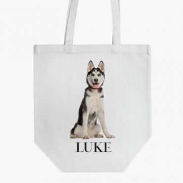 Personalized Siberian Husky Dog Cotton Tote Bag