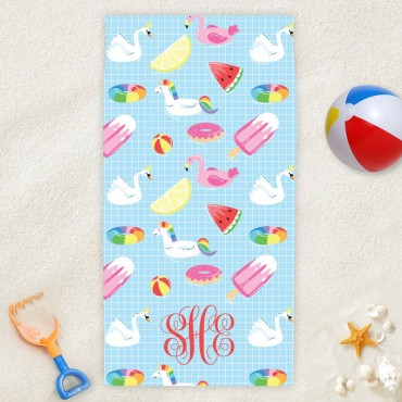 Personalized Summer Fun Monogram Beach Towel