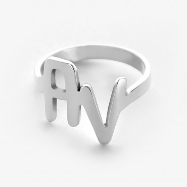 Personalized Two Initials Sterling Silver Ring