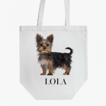 Personalized Yorkshire Terrier Dog Cotton Tote Bag
