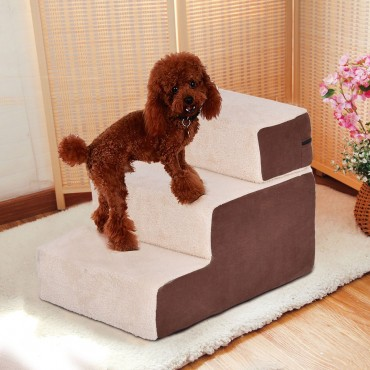 Portable 3 Step Pet Stairs Soft Step For Dog And Cat Cotton Brown