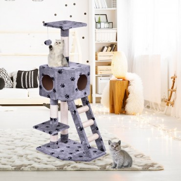 Tower Condo Scratch Post Pet Furniture Cat Tree with Ladder