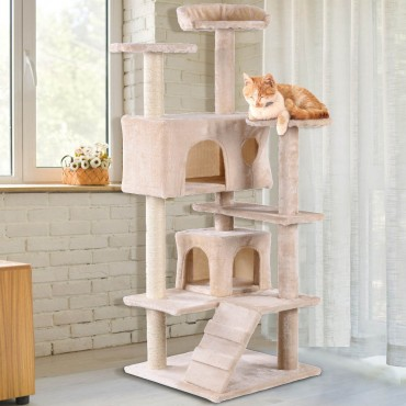 52 In. Cat Scratching Post and Ladder Kitten Tower Tree