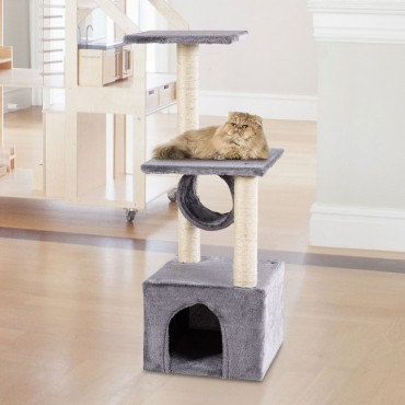 37 In. Cat Tree Condo Kitten Pet House with Scratch Post