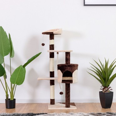 43 In. Cat Tree Kitten Activity Tower with Scratching Posts