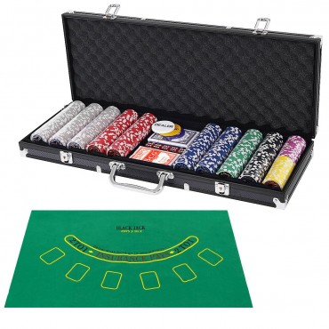Texas Holdem Cards With 500 Jetton And Dice In Aluminum Case